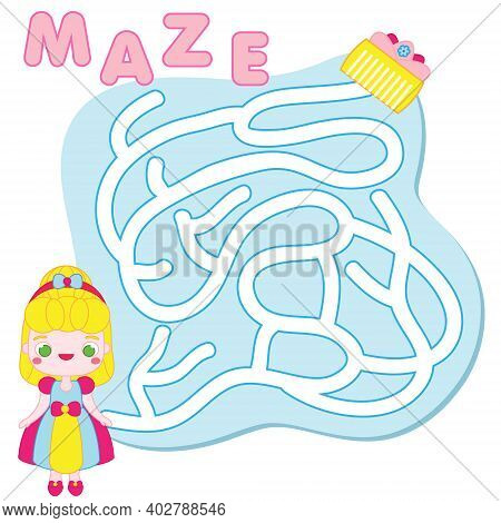 Maze Puzzle. Help Princess Find Treasure. Activity For Toddlers. Educational Children Game