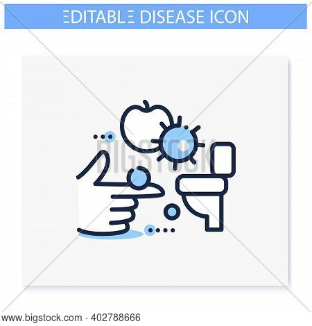 Fecal-oral Spread Line Icon. Disease Spreading Concept. Covid19, Foodborne Bacterial Infection, Rota