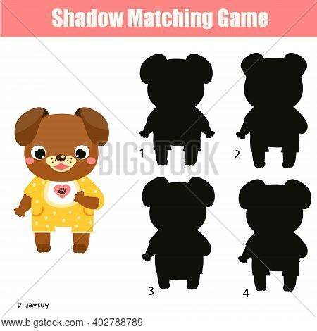Shadow Matching Game. Kids Activity With Cartoon Dog. Silhouette Fun Page For Toddlers