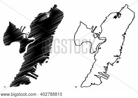 Hudson County, New Jersey (u.s. County, United States Of America, Usa, U.s., Us) Map Vector Illustra