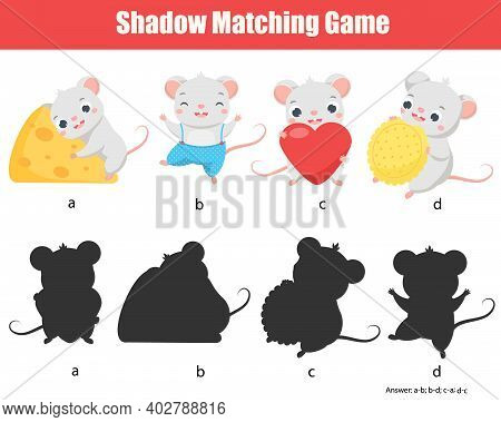 Shadow Matching Game. Match Mouse With Silhouette. Animals Theme Fun Page For Toddlers