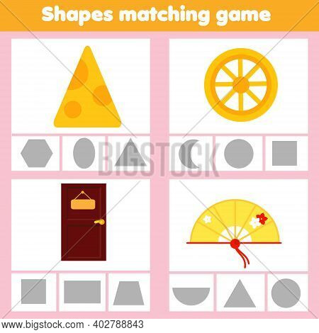 Matching Children Educational Game. Match Objects Wtih Geometric Shapes. Activity For Kids And Toddl