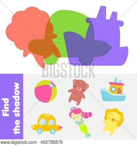 Shadow Matching Game. Kids Activity With Toys. Silhouette Fun Page For Toddlers