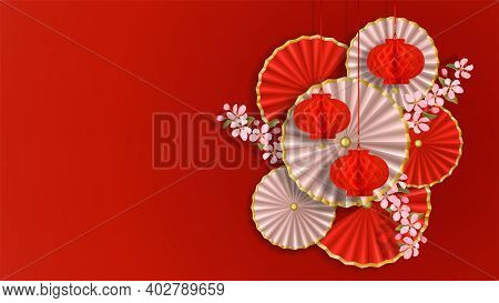 Red And White Composition With Sakura, Paper Flowers, Fans And Lanterns