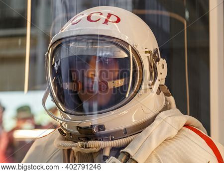 Moscow, Russia - November 28, 2018: Russian astronaut spacesuit Yastreb in Moscow space museum that was specially developed for early Soyuz missions