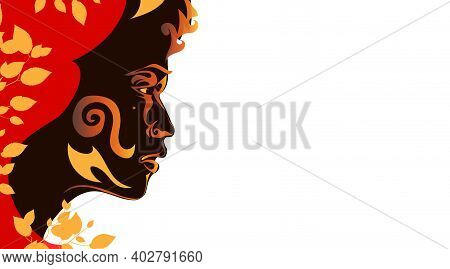 Spring Portrait Beautiful African Woman. Dark Skinned Girl Silhouette Isolated On White Background.