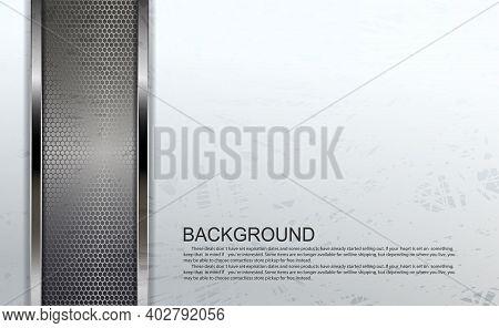 Textured White Design With Rectangular Mesh Frames With Metallic Border