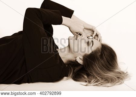 Blond Young Woman Lay On Floor Close Up Sensual Black And White Portrait