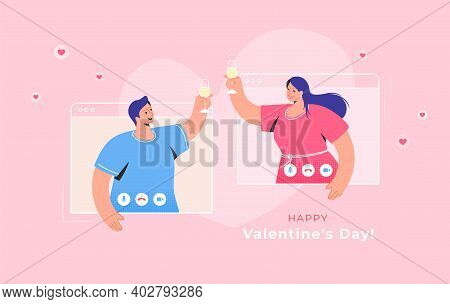 Valentines Day Congratulation Via Video Call. Concept Vector Illustration Of Young Woman And Man Are