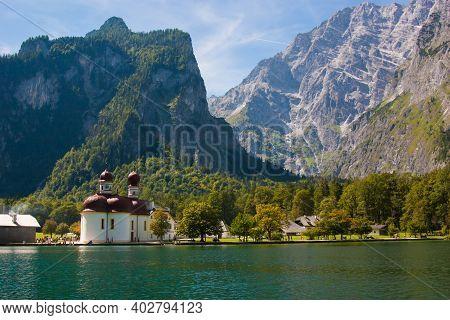 Kirche St. Bartholomae St. Bartholomew's Church At Lake K Nigssee, Berchtesgaden National Park, Bava
