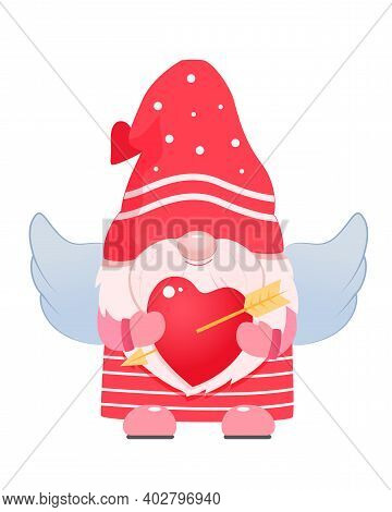 Adorable Cartoon Valentine Gnome Cupid With Wings.