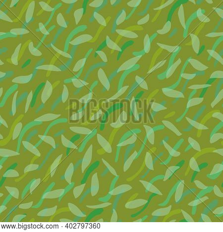 Abstract Lawn Flooring Seamless Vector Repeat Background. Irregular Sprinkled Green Design. Close Up