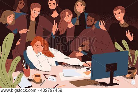Stressed Woman Failed To Meet Deadline. Angry Colleagues Standing Over Creative Worker Pressuring An