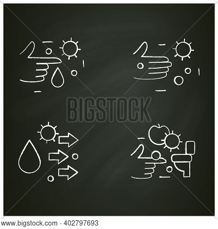 Disease Spread Concept Chalk Icons Set. Contact Spreading. Covid19, Virus Disease, Influenza Or Flu