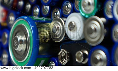 Lots Of Used Household Alkaline Batteries Type Aa, Aaa, Pp3, D, C, Collected For Recycling. Recyclin