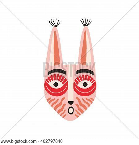 Funny Ethnic Indian Tribal Mask With Long Ears And Open Mouth Expressing Surprise. Pink Ancient Ritu