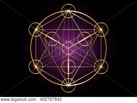 Metatrons Cube,  Flower Of Life. Sacred Geometry, Graphic Element Magic Hexagram. Gold Vector Isolat