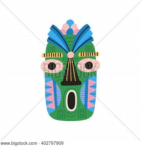 Funny Ethnic Tiki Tribal Mask With Huge Eyes And Open Mouth. Dreaded Ancient Ritual Symbol Or Souven