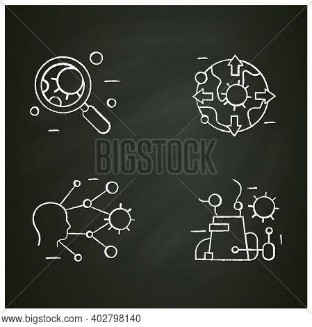 Spread Of Disease Concept Chalk Icons Set. Covid19, Virus Disease, Influenza Transmission Education