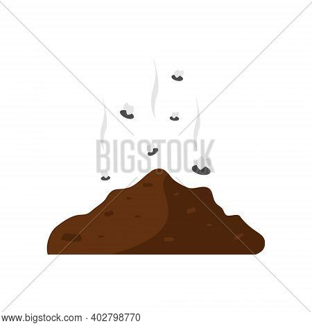 Poop Icon With Fly. Brown Shit Vector Illustration. Excrement Symbol.