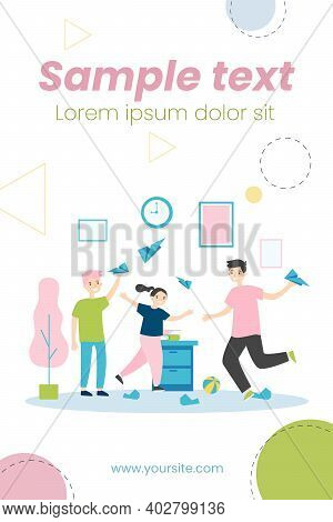 Active Kids Playing With Paper Planes. Children Making Mess At Home Flat Vector Illustration. Childh
