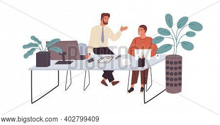 Office Workers Or Clerks Chatting During Break Time At Workplace. Smiling Men Talking At Office Desk