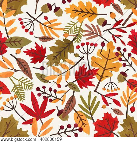 Seamless Pattern With Autumn Leaves And Berries. Colorful Repeatable Backdrop With Oak, Rowan And Ma