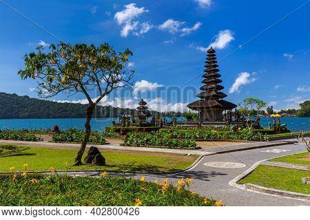 Pura Ulun Danu Temple in Bali Island Indonesia - travel and architecture background