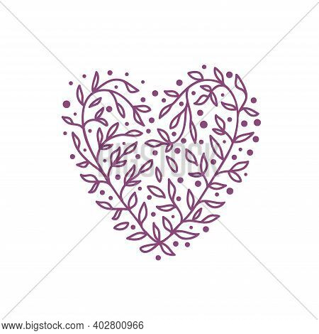 Pink Hearts Vector Illustration, Lace Heart With Ornament And Pattern Of Flowers And Leaves, Suitabl