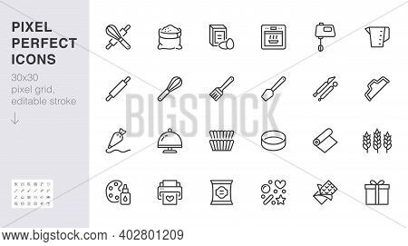 Bakery Line Icon Set. Baking Tool - Confectionery Bag, Dough Roll, Cake Decorating, Pastry Ingredien
