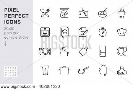 Cooking Line Icon Set. Kitchen Tools - Pan, Pot, Dinner Utensil, Cookbook, Chef Hat Minimal Vector I