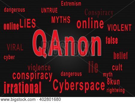 Qanon Word Cloud Text Describing The Rightwing Extremist Conspiracy Theory