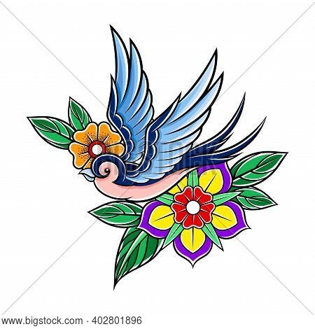 Fluttering Swallow With Flowers As Old School Badge Vector Illustration
