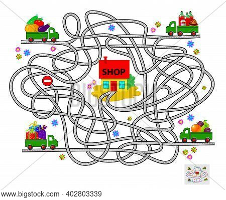 Logic Puzzle Game With Labyrinth For Children And Adults. Help All Lorries Deliver Food To The Shop.
