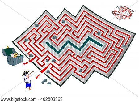 Logic Puzzle Game With Labyrinth For Children And Adults. Help The Pirate Find The Way To The Treasu