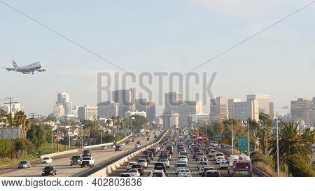 San Diego, California Usa - 15 Jan 2020: Busy Intercity Freeway, Traffic Jam On Highway During Rush