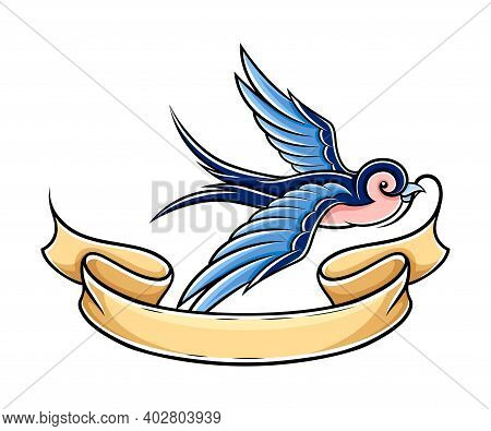 Old School Blue Swallow Holding Banner Or Ribbon In Its Beak Vector Illustration