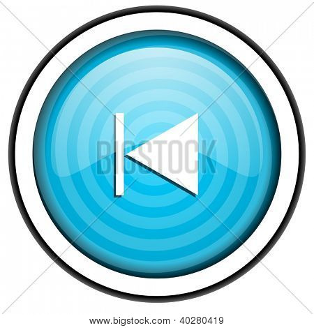prev blue glossy icon isolated on white background