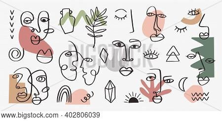 Contemporary Tribal Woman Portrait With Abstract Leaves, Shapes Line Art Style