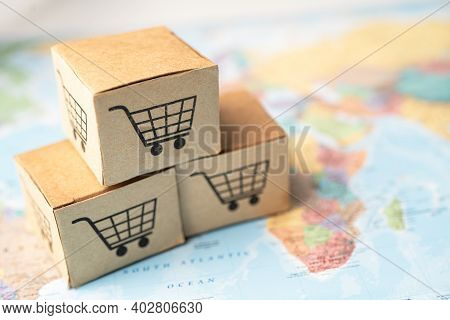 Shopping Cart Logo On Box With On Africa Map Background; Banking Account, Investment Analytic Resear