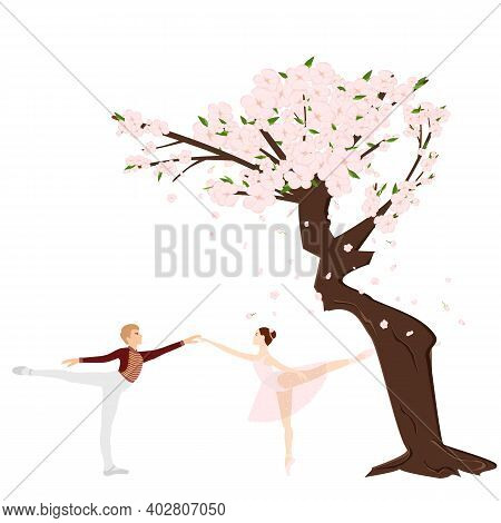 Cherry Sakura Blossom Branch And Ballet Dancers, Ballerina, Falling Petals, Tree. Flowers And Petals