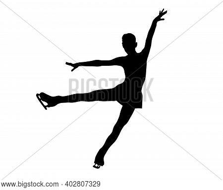 Graceful Figure Skater Girl Black Silhouette On White Background