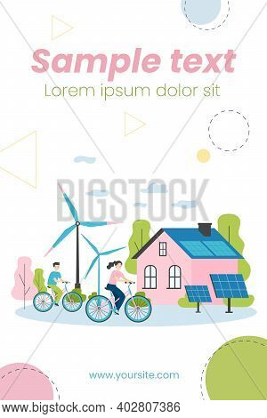 People Riding Bikes By Windmills And Solar Power Station. Flat Vector Illustration For Eco Friendly