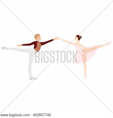 Ballerina And Dancer, Ballet Paar, Tutu And Pointe Shoes, Dancing And Posing, Vector Ballet
