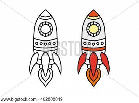 Rocket Flies In Cartoon Hand Drawn Vector Illustration. The Concept Of Starting, Starting, Starting