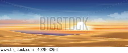 Desert Landscape Of Sand Dunes With Sunset Orange And Blue Sky In Evening,minimalist In Dramatic Twi
