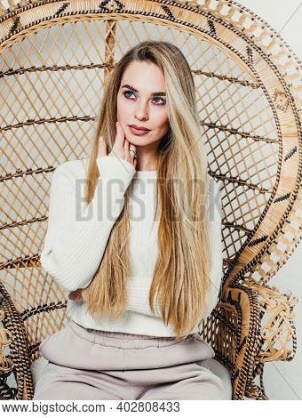 Young Beautiful Attractive Sexy Woman Model Sensual Portrait Close-up Long Luxurious Blonde Hair Blo