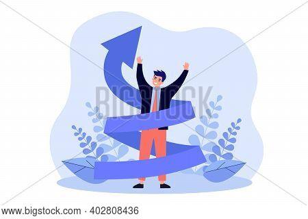 Happy Man Increasing Career Flat Vector Illustration. Cartoon Positive Character In Suit With Upward