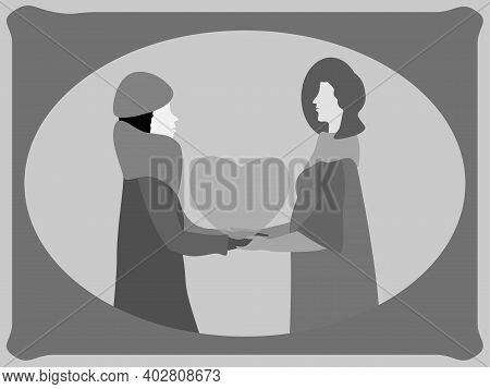 Colorless Valentine Card. Retro Style. Be My Valentine. Women In Love. Lesbian Couple. Vector Illust