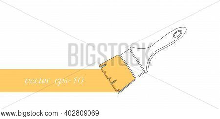 Paint Brush One Line Drawing.yellow Strip Paint .roller Brushes With Colors Paint For Text . Banner